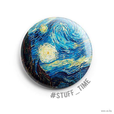 """Значок маленький """"Ван Гог. Звездная ночь"""" (арт. 387) — фото, картинка"""