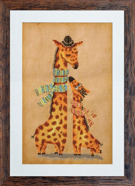 "Вышивка крестом ""Жирафики"" (190х300 мм) — фото, картинка"