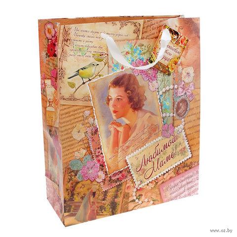 "Пакет бумажный подарочный ""Любимой маме"" (12х15х5,5 см; арт. 10320899)"