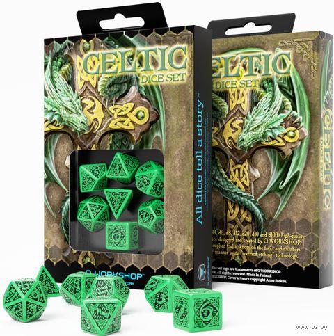 """Набор кубиков """"Celtic"""" (7 шт.; зелено-черный) — фото, картинка"""