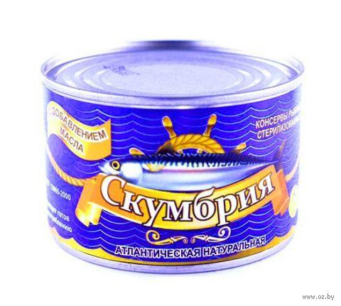 """Скумбрия консервированная """"Русский рыбный мир. С добавлением масла"""" (250 г) — фото, картинка"""
