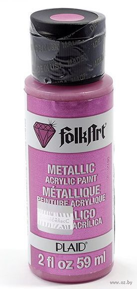 "Краска акриловая ""FolkArt. Metallic"" (розовый блеск, 59 мл; арт. PLD-00652)"