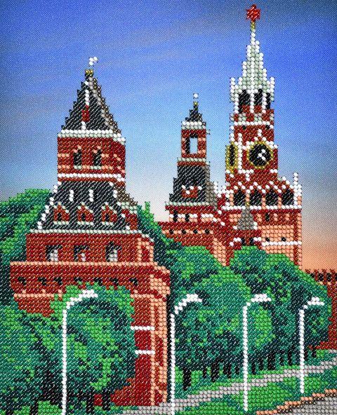 "Вышивка бисером ""Московский кремль"" (180х220 мм) — фото, картинка"