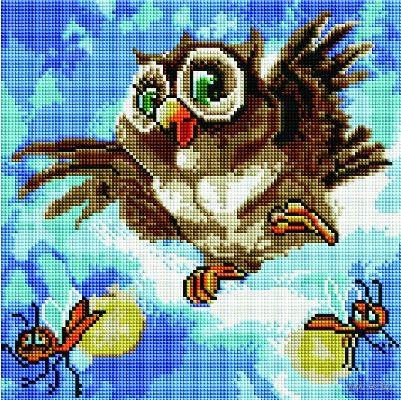 """Алмазная вышивка-мозаика """"Смешная сова"""" (300х300 мм) — фото, картинка"""