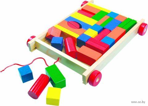 "Каталка ""Вагончик с разноцветными кубиками"" (34 кубика) — фото, картинка"