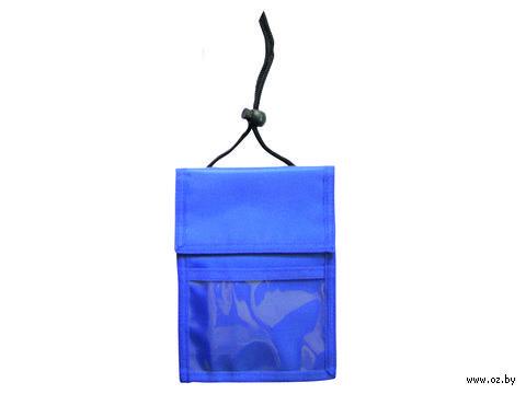 Нагрудное дорожное портмоне со шнурком (синее) — фото, картинка