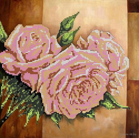 """Канва с нанесенным рисунком """"Розовые розы"""""""