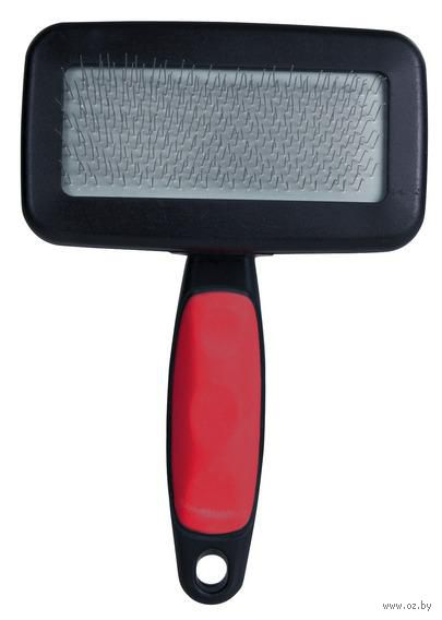 Мягкая щетка-пуходерка с гребешком для ухода за шерстью (11x16 см)