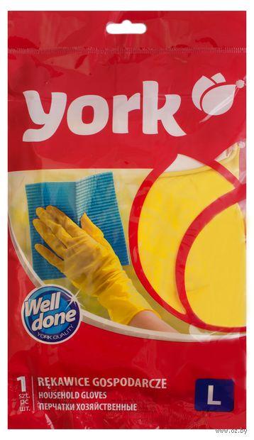 """Перчатки хозяйственные резиновые """"York"""" (L; 1 пара) — фото, картинка"""