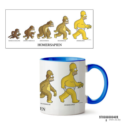 """Кружка """"Симпсоны. Homersapien"""" (голубая; арт. 409) — фото, картинка"""