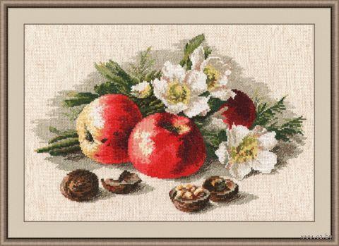 "Вышивка крестом ""Натюрморт с яблоками"" (380x240 мм) — фото, картинка"