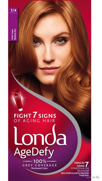 """Крем-краска для волос """"Londa AgeDefy"""" тон: 7/4, золотистый медный — фото, картинка"""