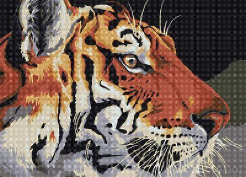"Алмазная вышивка-мозаика ""Тигр"" (500х360 мм; арт. АМА2-006) — фото, картинка"
