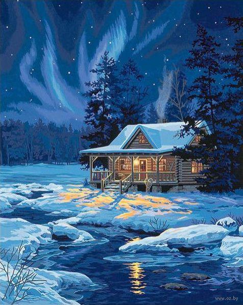 """Картина по номерам """"Залитая лунным светом хижина"""" (510х410 мм; арт. DMS-91223)"""