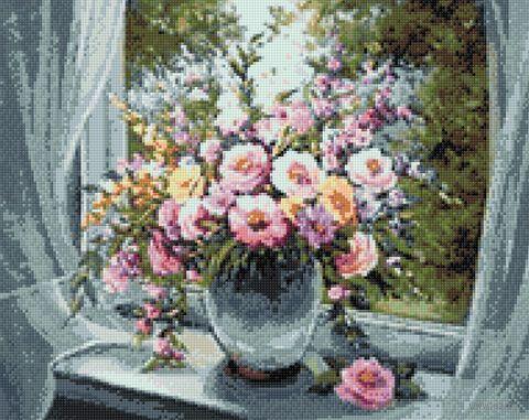 """Алмазная вышивка-мозаика """"Цветы на подоконнике"""" (380х480 мм) — фото, картинка"""