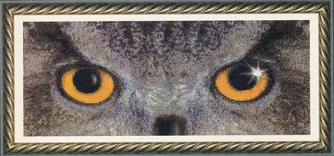 "Вышивка крестом ""Взгляд филина"" (320х145 мм) — фото, картинка"