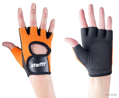 Перчатки для фитнеса SU-107 (M; оранжевые/чёрные) — фото, картинка