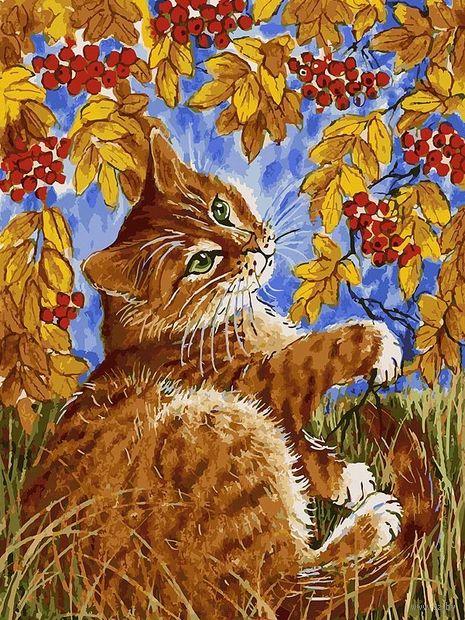 "Картина по номерам ""Кот с рябиной"" (300х400 мм) — фото, картинка"