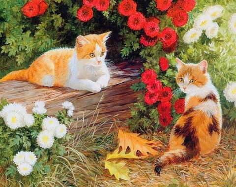 """Вышивка бисером """"Кошечки в саду"""" (230х300 мм) — фото, картинка"""