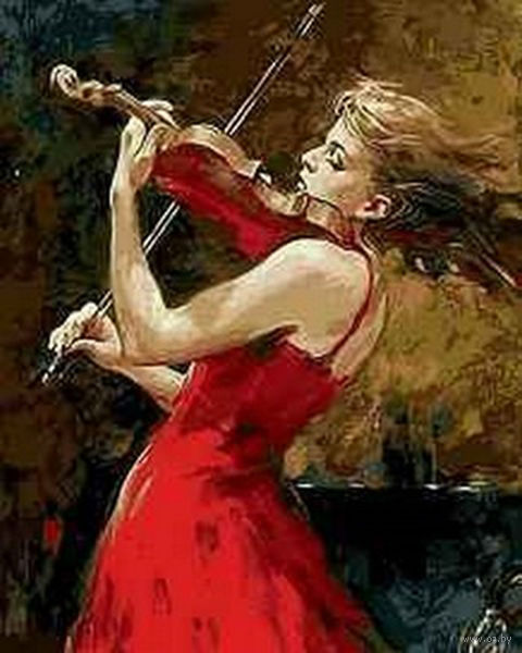 """Картина по номерам """"Скрипачка в красном"""" (400x500 мм; арт. MG7627)"""