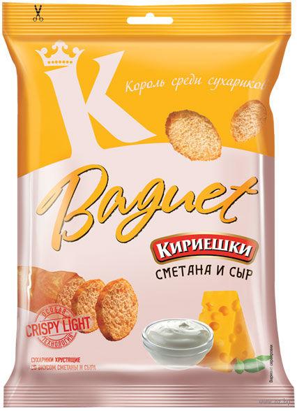"""Сухарики пшеничные """"Baguet"""" (50 г; сметана и сыр) — фото, картинка"""