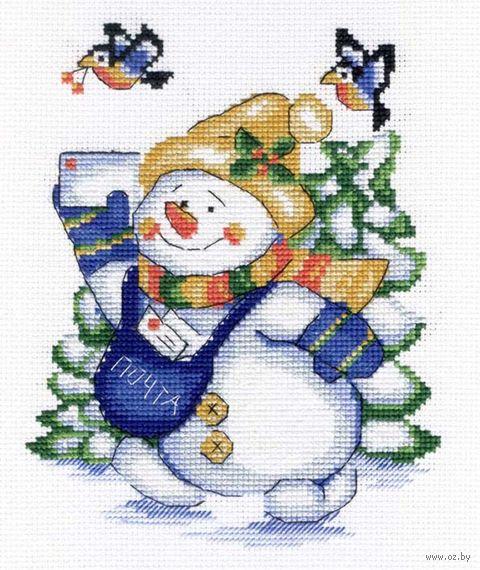 """Вышивка крестом """"Снеговик"""" (220х180 мм) — фото, картинка"""