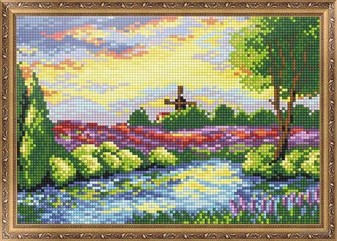 "Алмазная вышивка-мозаика ""Вечерняя река"" (350х300 мм) — фото, картинка"