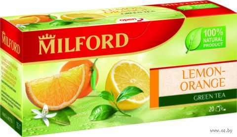 """Чай зеленый """"Milford. Лимон-апельсин"""" (20 пакетиков) — фото, картинка"""
