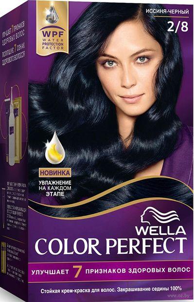 """Крем-краска для волос """"Wella Color Perfect"""" тон: 2/8, иссиня-черный — фото, картинка"""
