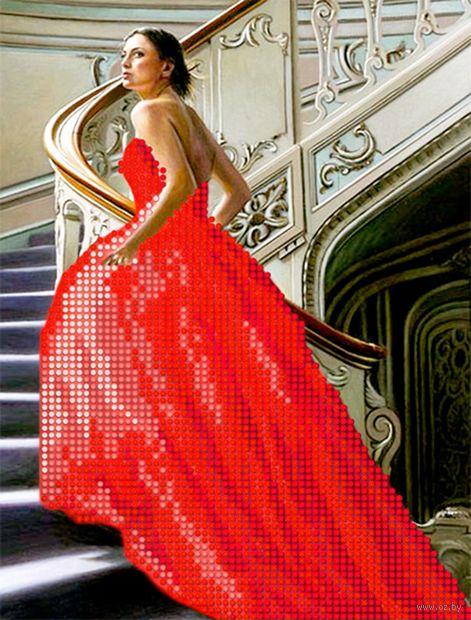"""Алмазная вышивка-мозаика """"Девушка в красном платье"""" (250х190 мм) — фото, картинка"""