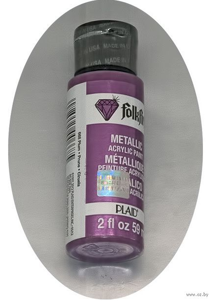 "Краска акриловая ""FolkArt. Metallic"" (слива, 59 мл; арт. PLD-00668)"