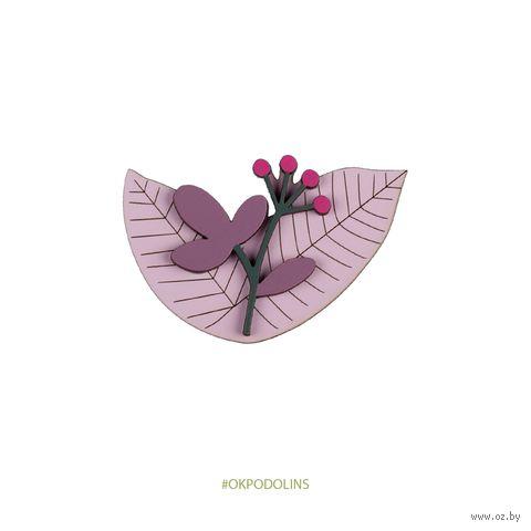 "Значок ""Цветочек на листиках"" (арт. 83-1) — фото, картинка"