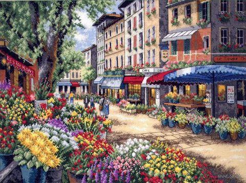 """Вышивка крестом """"Рынок в Париже"""" (арт. DMS-35256)"""