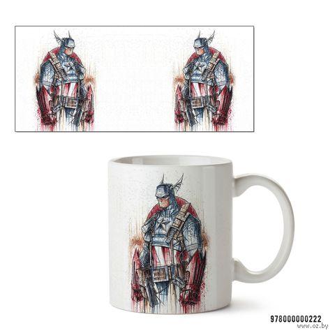 """Кружка """"Капитан Америка из вселенной MARVEL"""" (белая; арт. 0222) — фото, картинка"""