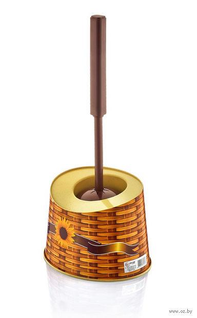 Щетка для WC пластмассовая (33 см) в пластмассовой подставке (14х18х12 см; арт. D026-X01)