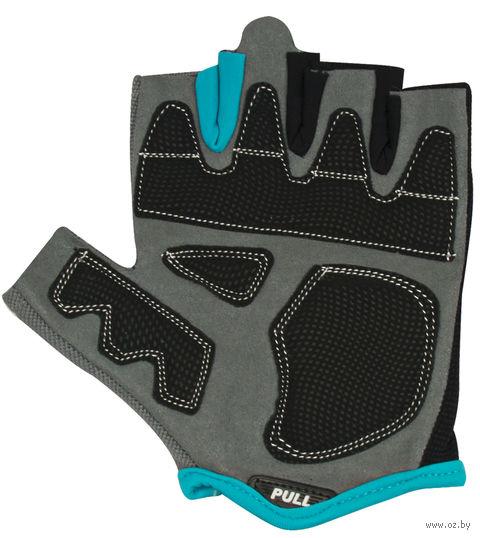 Перчатки для фитнеса SU-117 (L; чёрные/серые/голубые) — фото, картинка