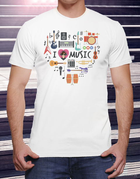 """Футболка мужская """"Love music"""" (размер 48; арт. 15) — фото, картинка"""