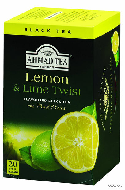 "Чай черный ""Ahmad Tea. Lemon and Lime Twist"" (20 пакетиков) — фото, картинка"