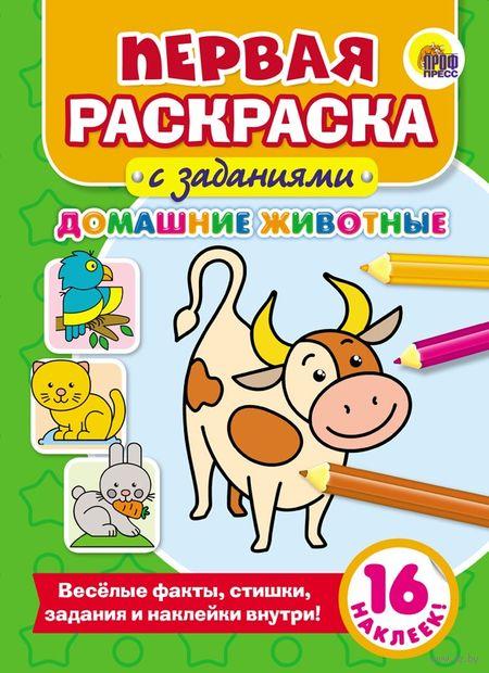 Первая раскраска с заданиями. Домашние животные (+ наклейки) — фото, картинка