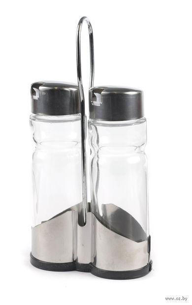 Набор бутылочек для уксуса и масла, стекло/металл, 2 шт. (180 мл) на металлической подставке (11*22 см)