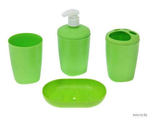 """Набор аксессуаров для ванной комнаты """"Aqua"""" (салатный) — фото, картинка"""
