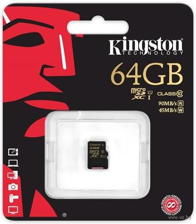 Карта памяти micro SDXC 64Gb KINGSTON Class 10 UHS-I U1 R/W 90/45 MB/s без адаптера (SDCA10/64GBSP)