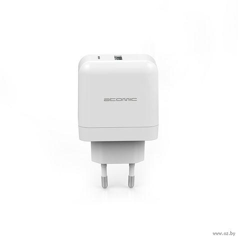 Сетевое зарядное устройство Atomic U216W, Qualcomm Quick Charge 3.0, 3A (белое) — фото, картинка