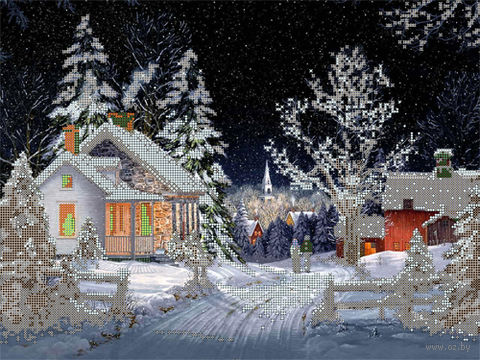 """Канва с нанесенным рисунком """"Зима в деревне"""""""