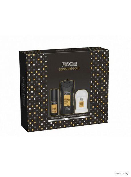 """Подарочный набор """"Axe Signature Gold"""" (спрей-парфюм, гель, дезодорант) — фото, картинка"""