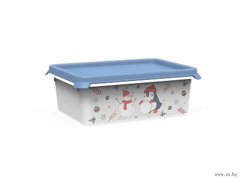 """Ящик для хранения с крышкой """"Christmas"""" (1 л; васильковый) — фото, картинка"""