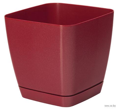 """Цветочный горшок """"Тоскана"""" (19х19х18,5 см; красный металлик) — фото, картинка"""