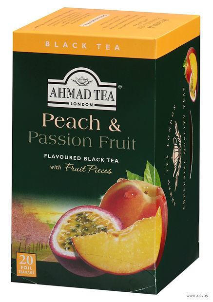 """Чай черный """"Ahmad Tea. Peach and Passion Fruit"""" (20 пакетиков) — фото, картинка"""