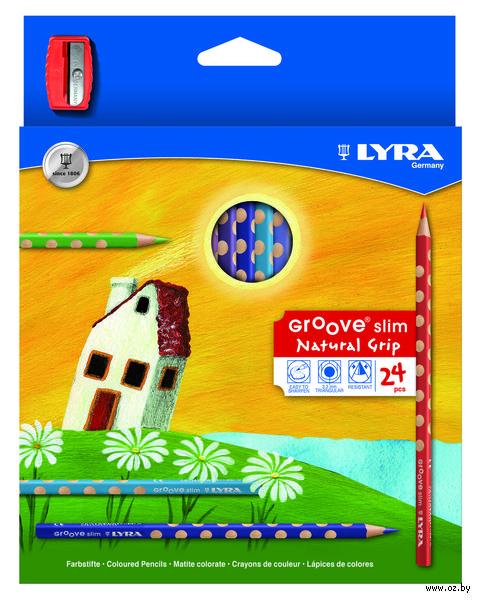 "Цветные карандаши ""GROOVE SLIM"" (24 цвета + точилка)"