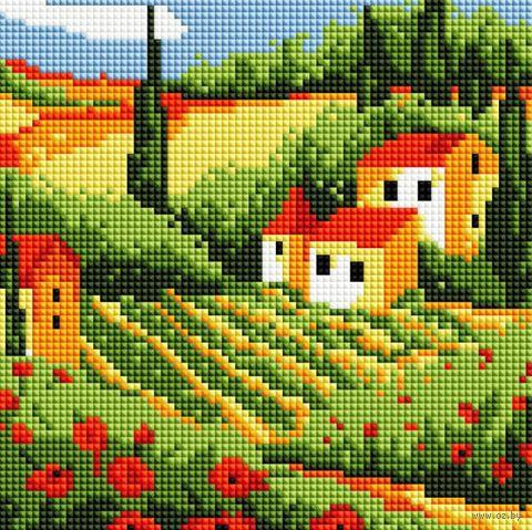 """Алмазная вышивка-мозаика """"Сельский пейзаж"""" (200х200 мм) — фото, картинка"""